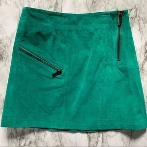 Ideology green leather suede skirt 47m